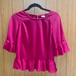 A New Day Fuchsia Check Bell Sleeve Top